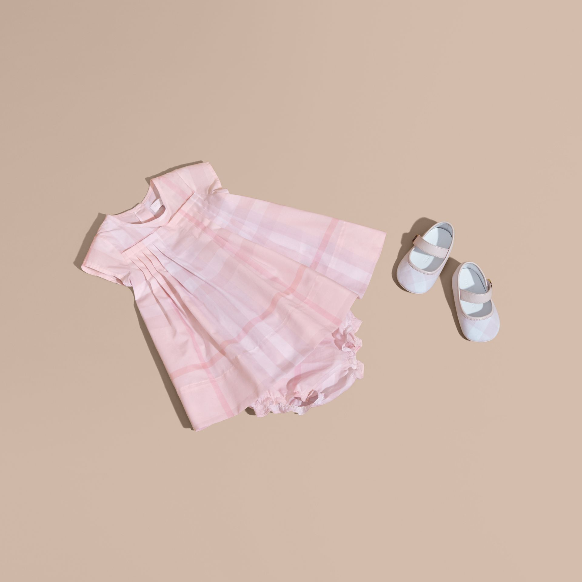 Check Cotton Pleat Dress in Ice Pink | Burberry - gallery image 1