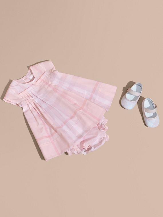 Check Cotton Pleat Dress in Ice Pink