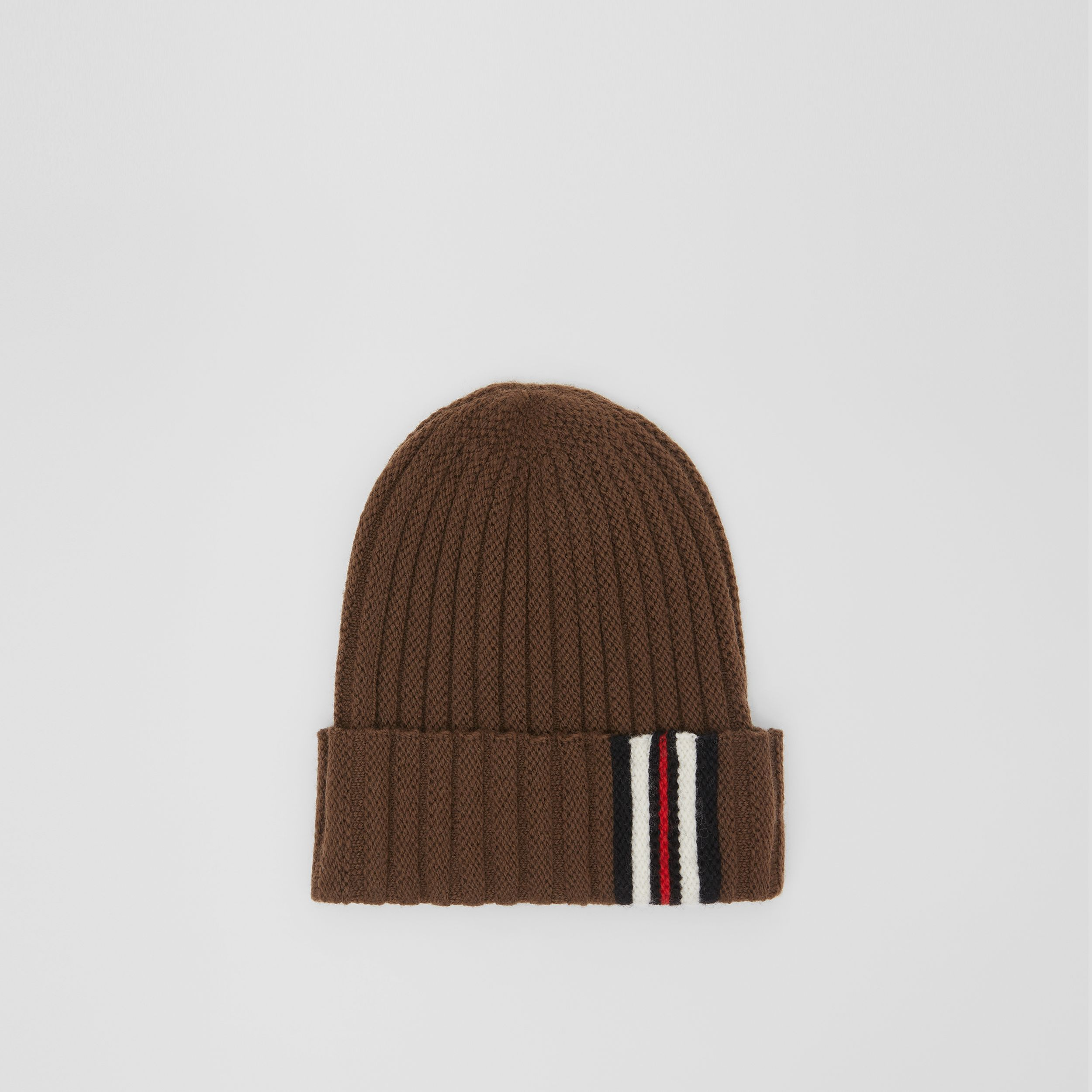 Stripe Detail Rib Knit Wool Beanie in Brown | Burberry - 1