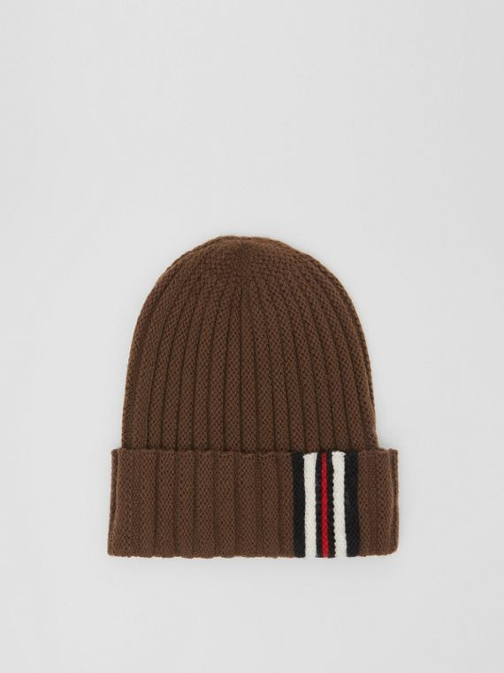 Icon Stripe Detail Rib Knit Wool Beanie in Brown