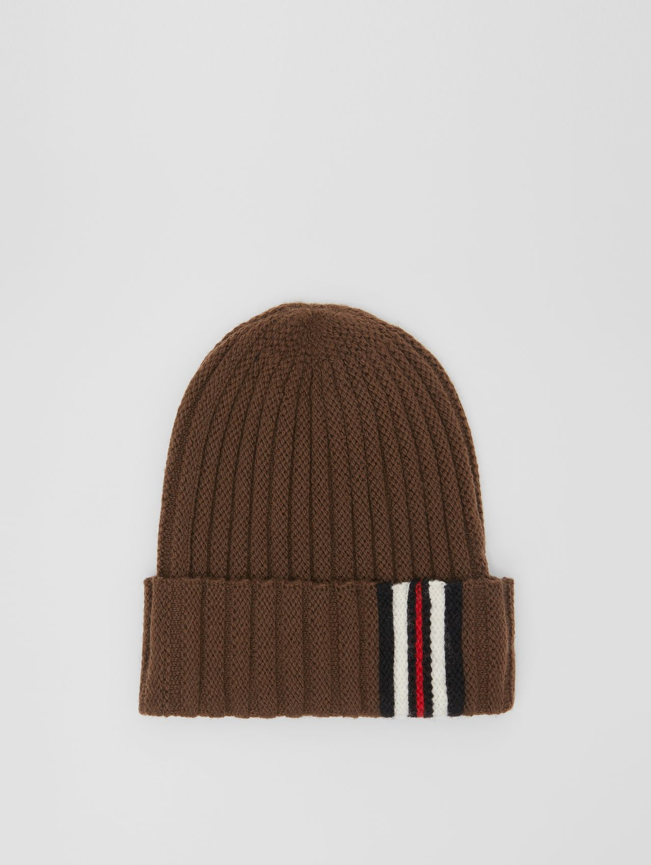 Stripe Detail Rib Knit Wool Beanie in Brown