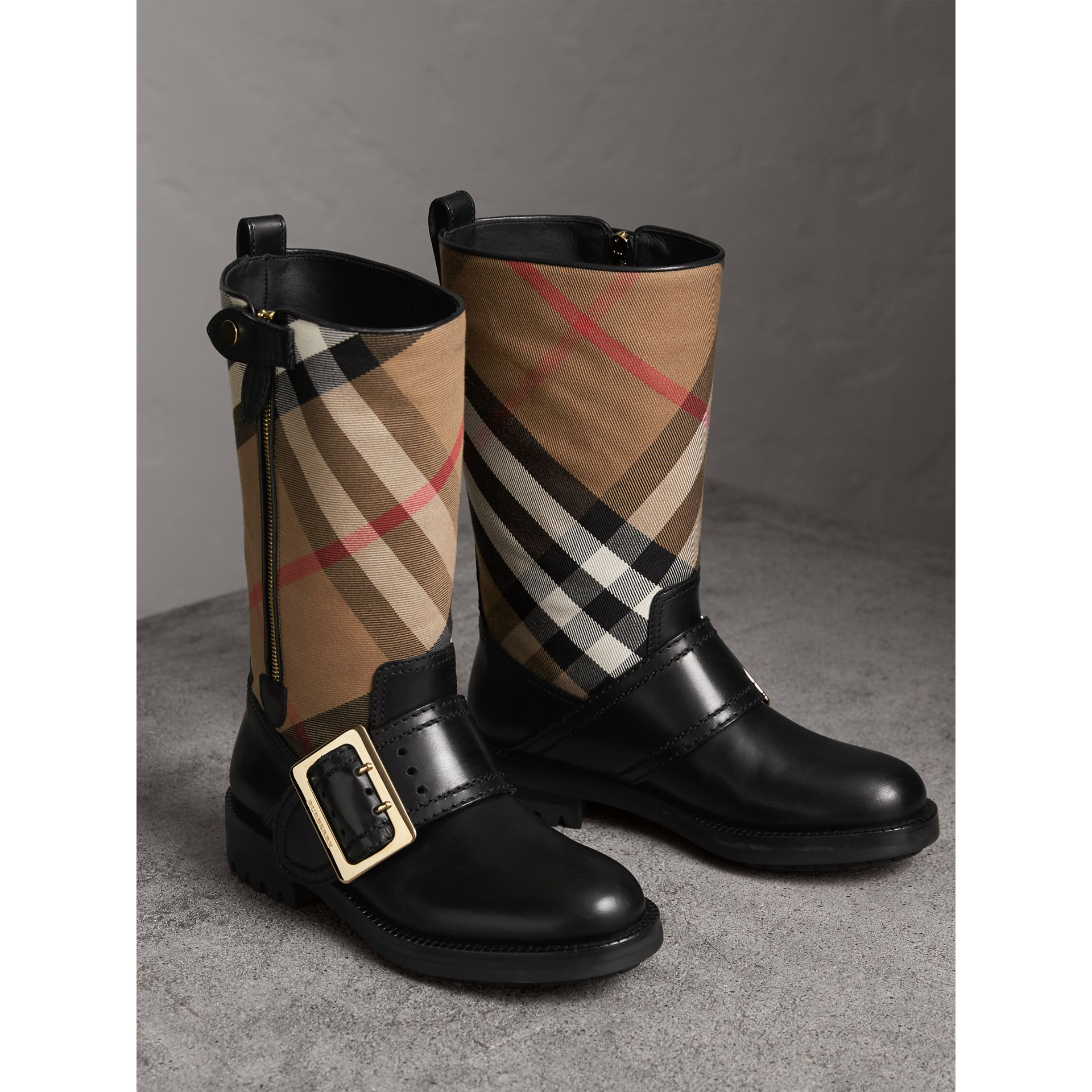 House Check Buckle Detail Leather Boots in Classic - Women | Burberry - gallery image 5