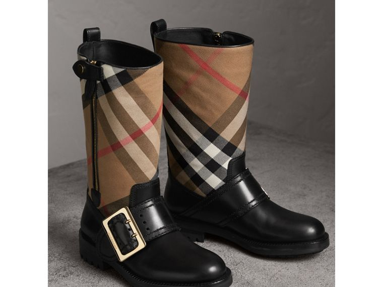 House Check Buckle Detail Leather Boots in Classic - Women | Burberry United States - cell image 4