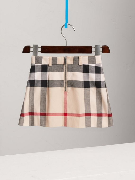 Pleated Check Cotton Skirt in Stone - Girl | Burberry - cell image 3