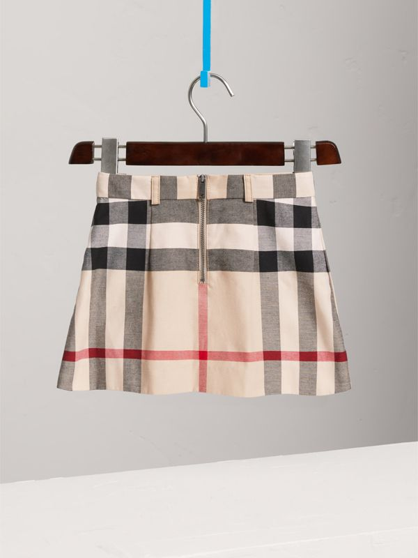 Pleated Check Cotton Skirt in Stone | Burberry - cell image 3