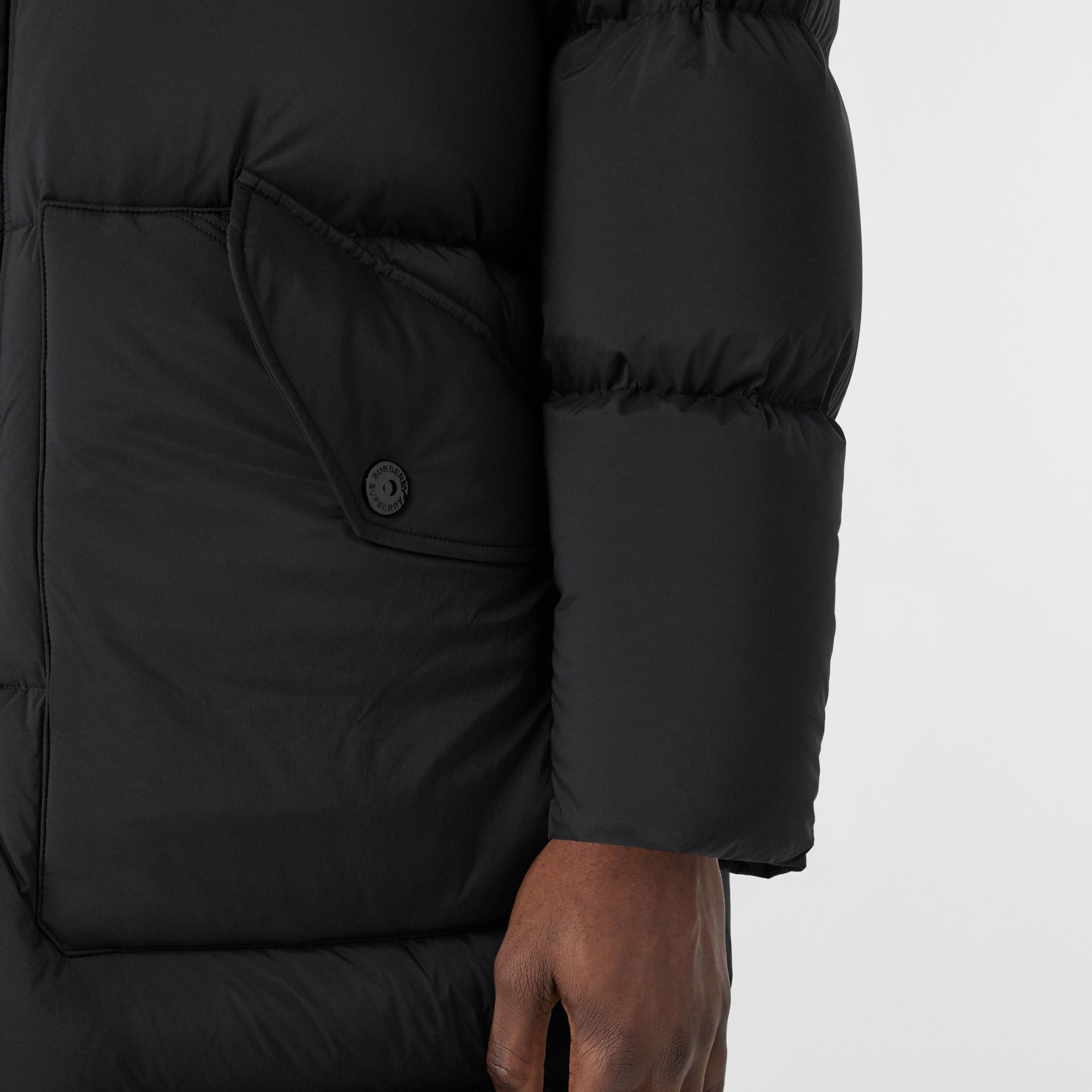 Detachable Hood Stretch Nylon Puffer Coat in Black - Men | Burberry United Kingdom - gallery image 5