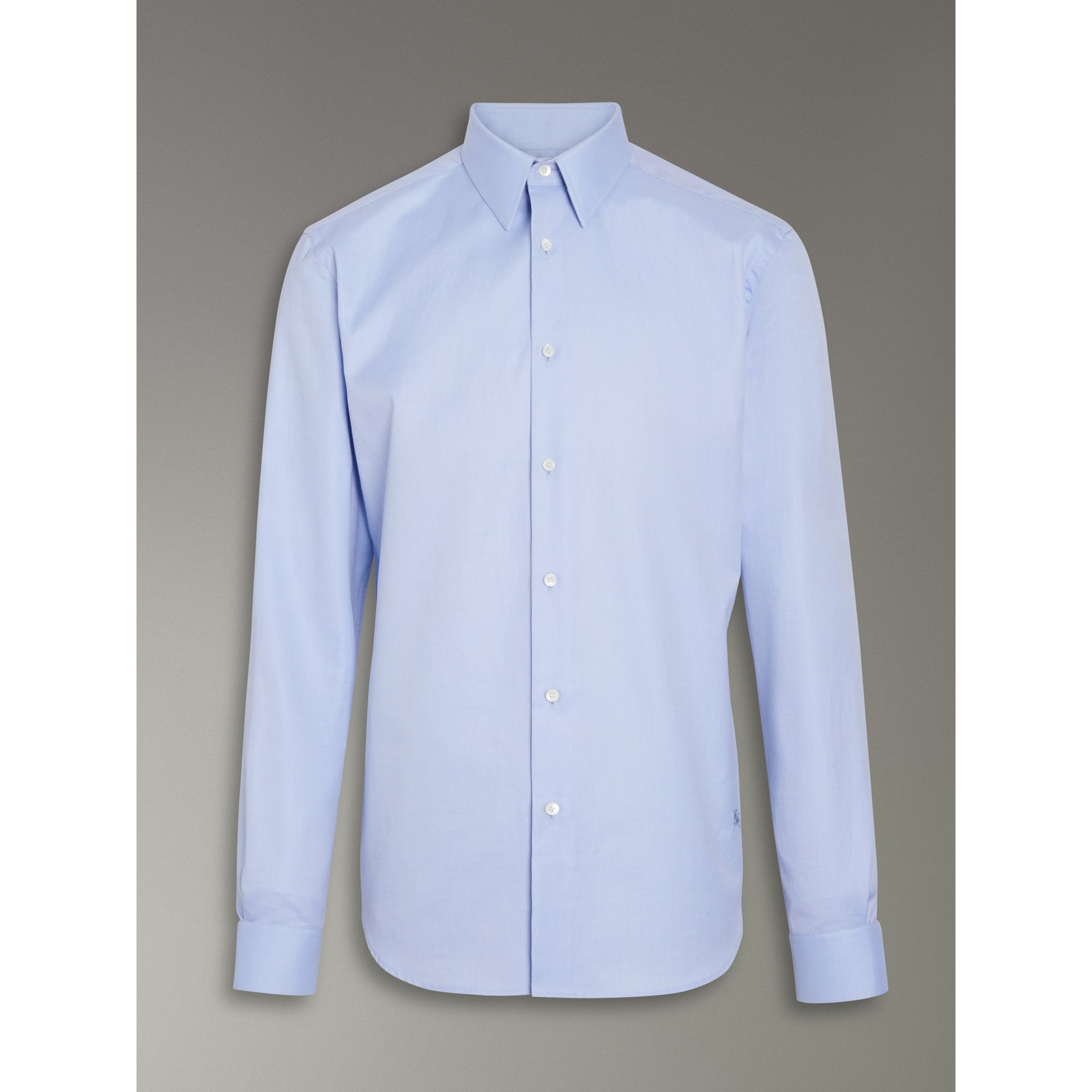 Modern Fit Cotton Shirt in Mid Blue - Men | Burberry - gallery image 3