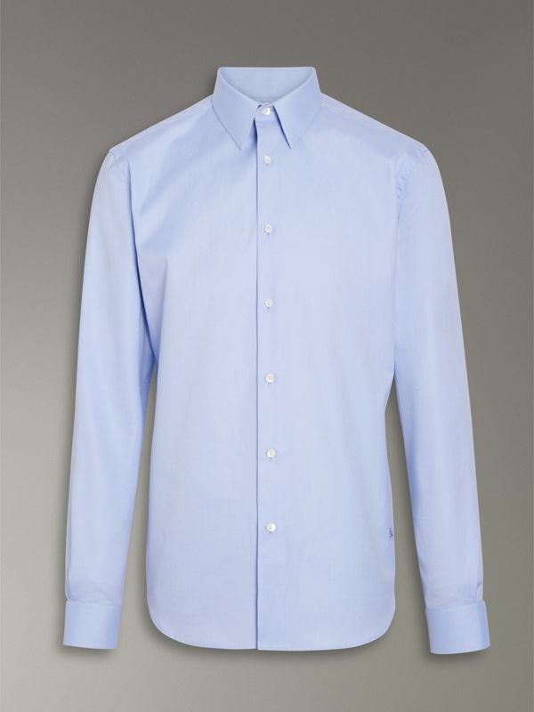 Modern Fit Cotton Shirt in Mid Blue - Men | Burberry United Kingdom - cell image 3