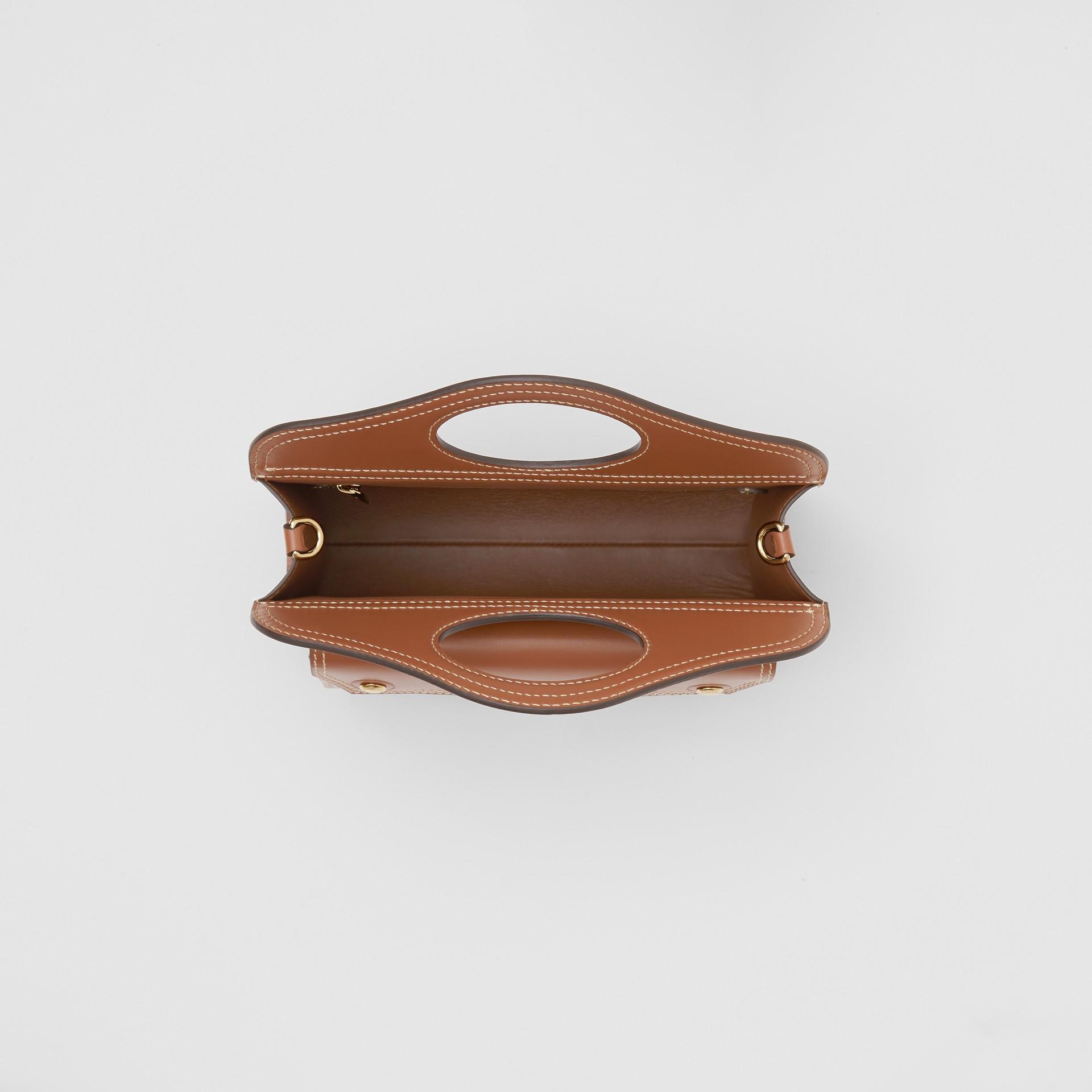 Mini Topstitch Detail Leather Pocket Bag in Malt Brown - Women | Burberry United Kingdom - gallery image 4