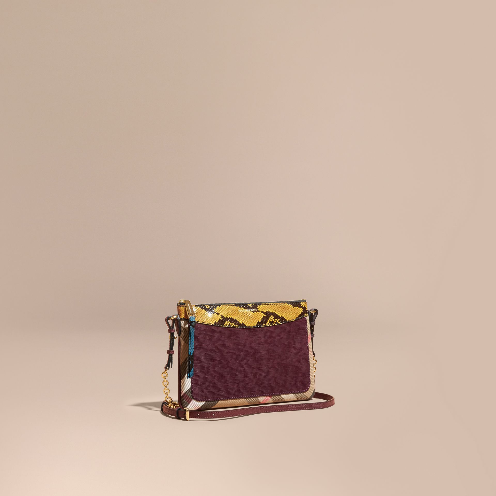 Leather, House Check and Snakeskin Clutch Bag in Elderberry - gallery image 1