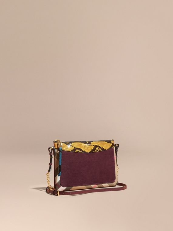Leather, House Check and Snakeskin Clutch Bag Elderberry