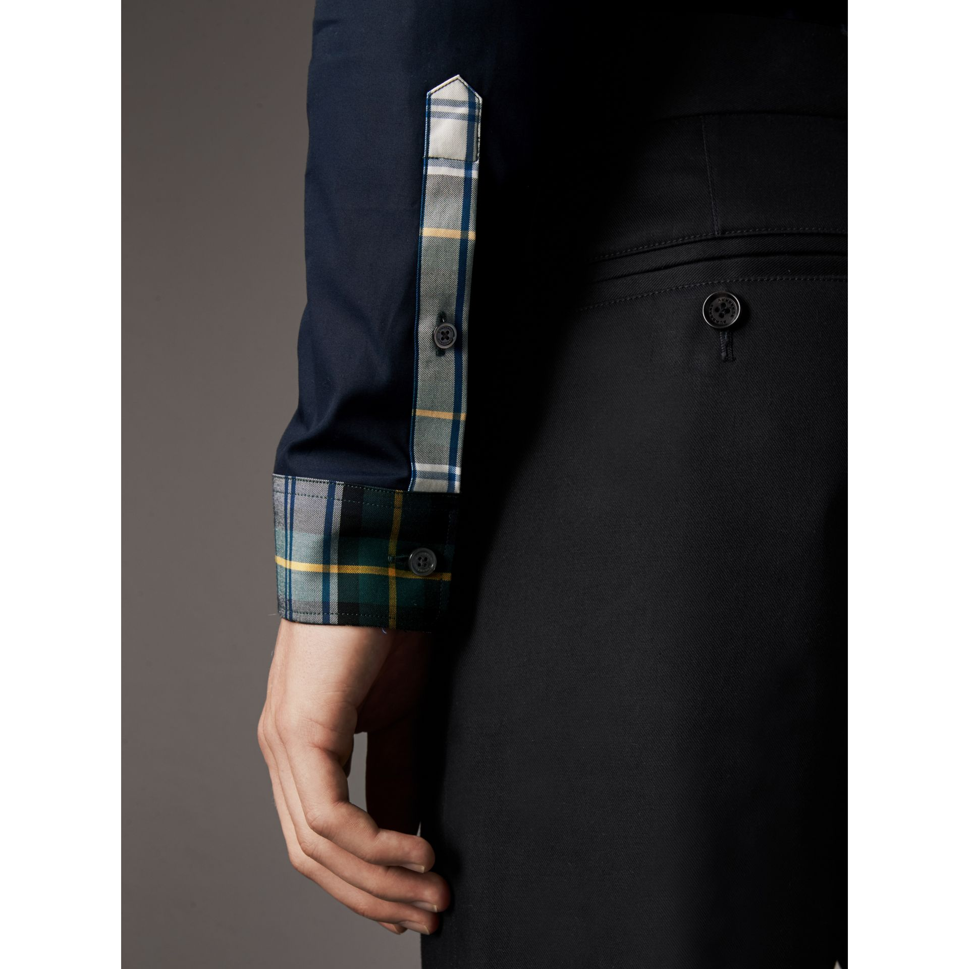 Tartan Cotton Gabardine Detail Cotton Poplin Shirt in Navy - Men | Burberry - gallery image 4