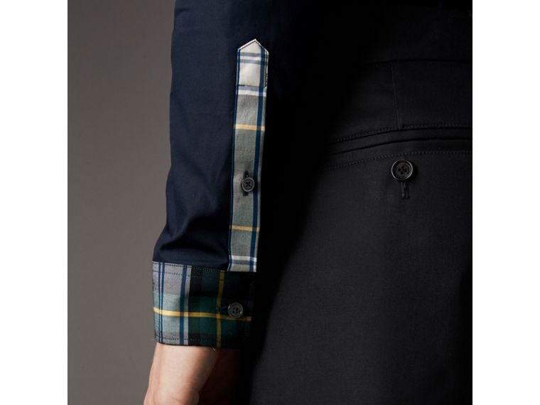 Tartan Cotton Gabardine Detail Cotton Poplin Shirt in Navy - Men | Burberry - cell image 4