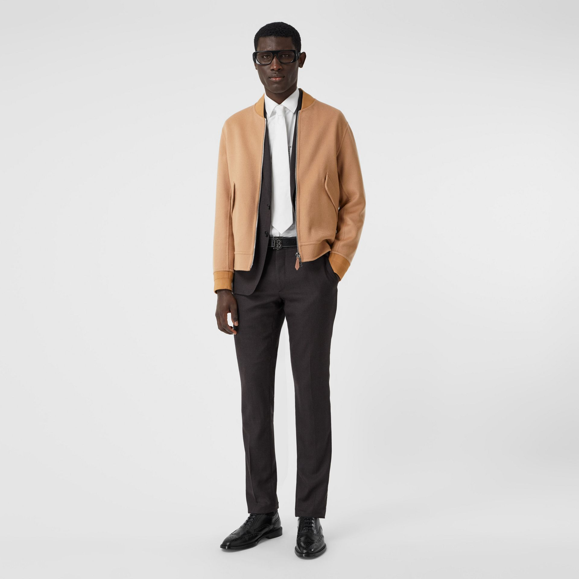 Double-faced Cashmere Bomber Jacket in Dark Camel - Men | Burberry - gallery image 0