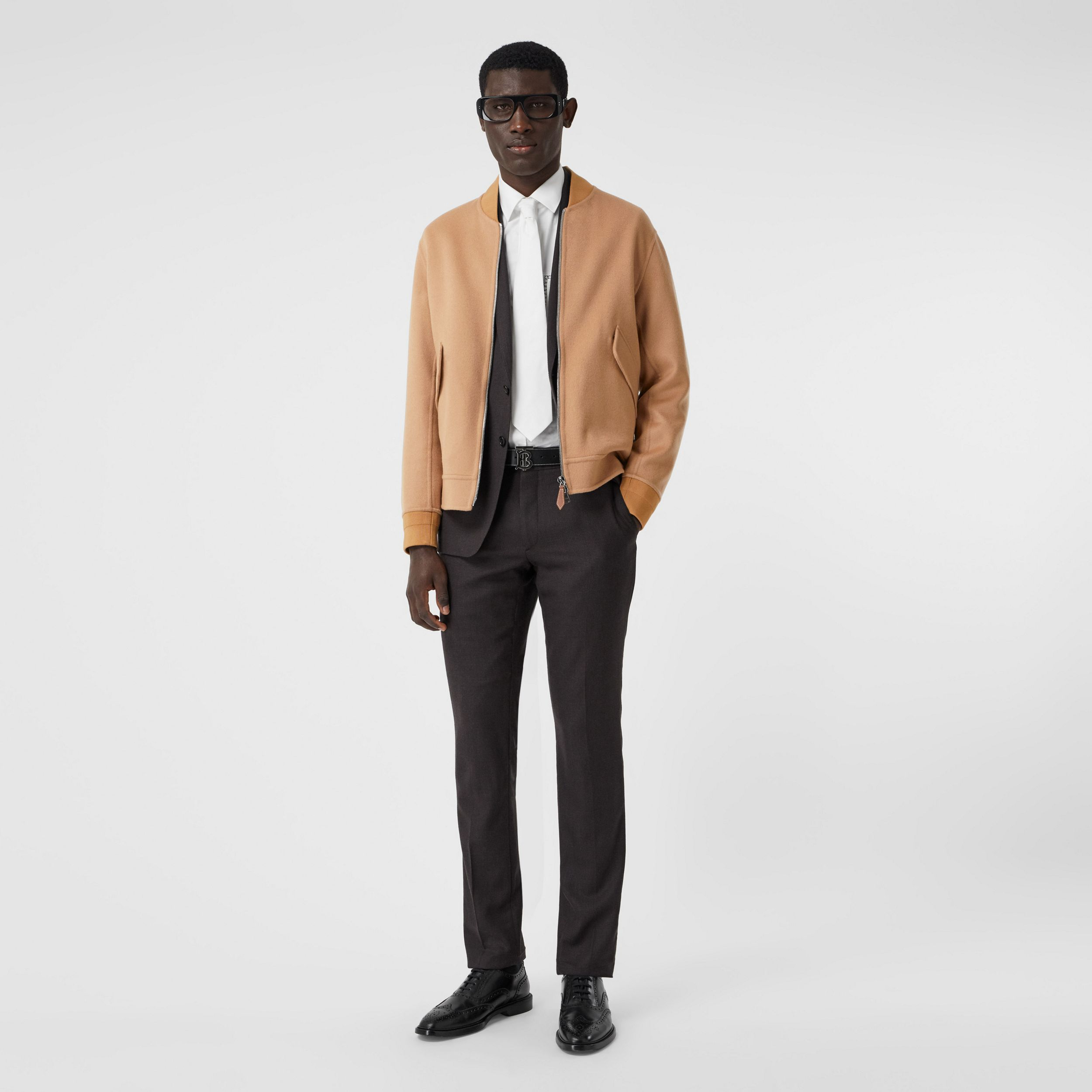 Double-faced Cashmere Bomber Jacket in Dark Camel - Men | Burberry - 1