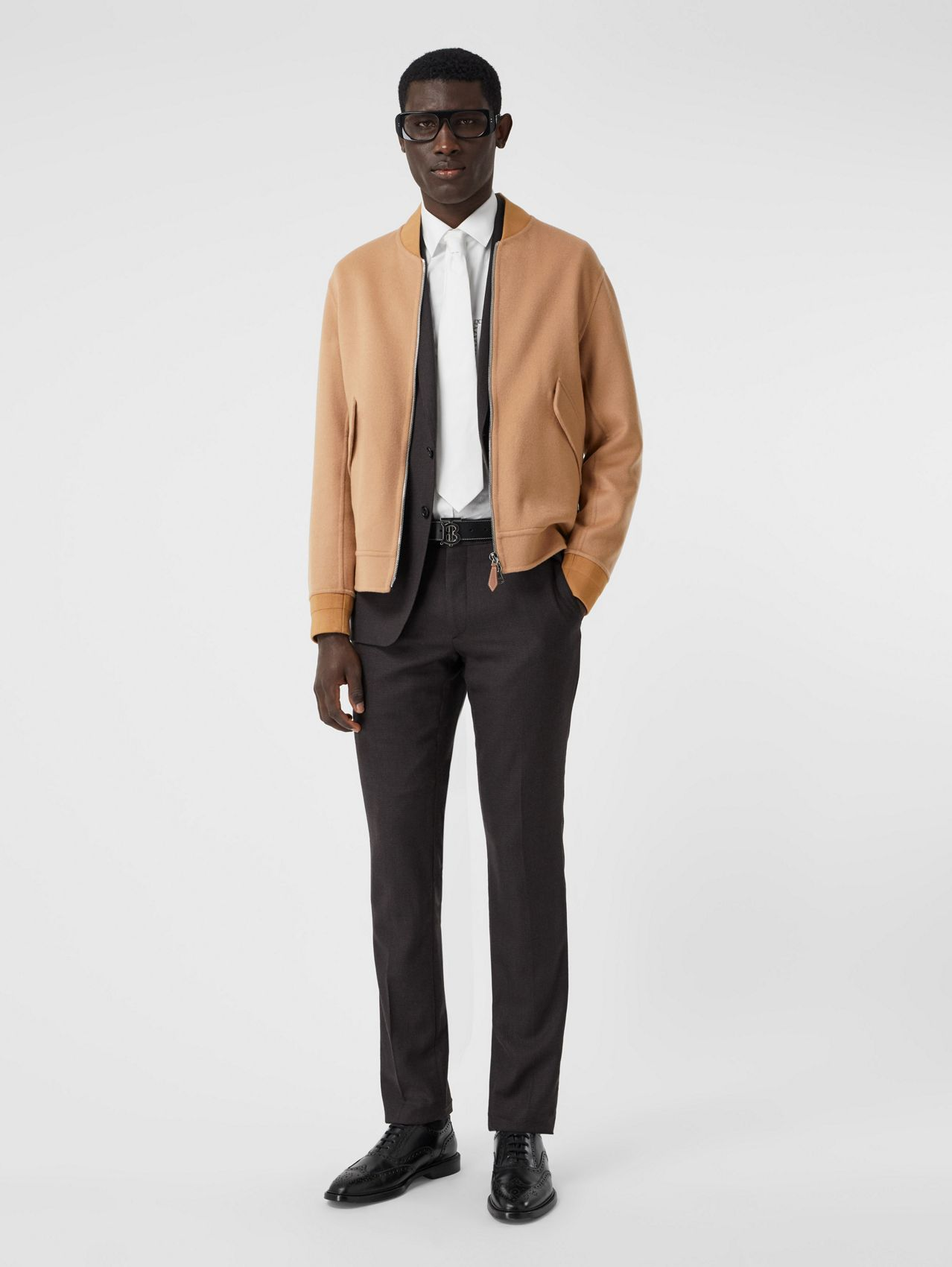 Double-faced Cashmere Bomber Jacket in Dark Camel