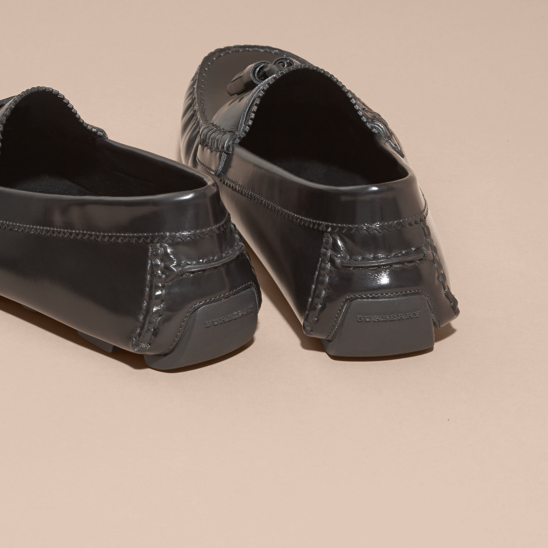 Black Tasselled Polished Leather Loafers Black - gallery image 4