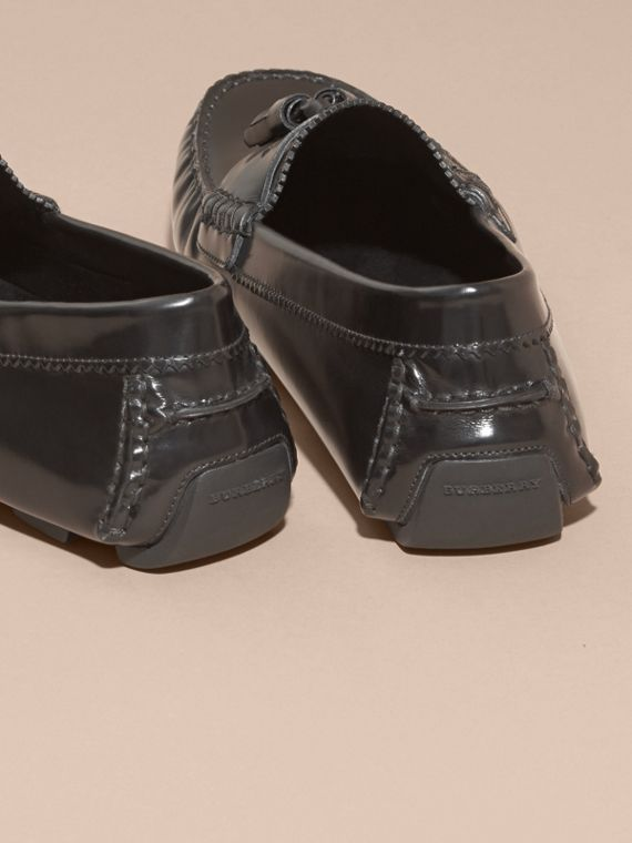 Black Tasselled Polished Leather Loafers Black - cell image 3