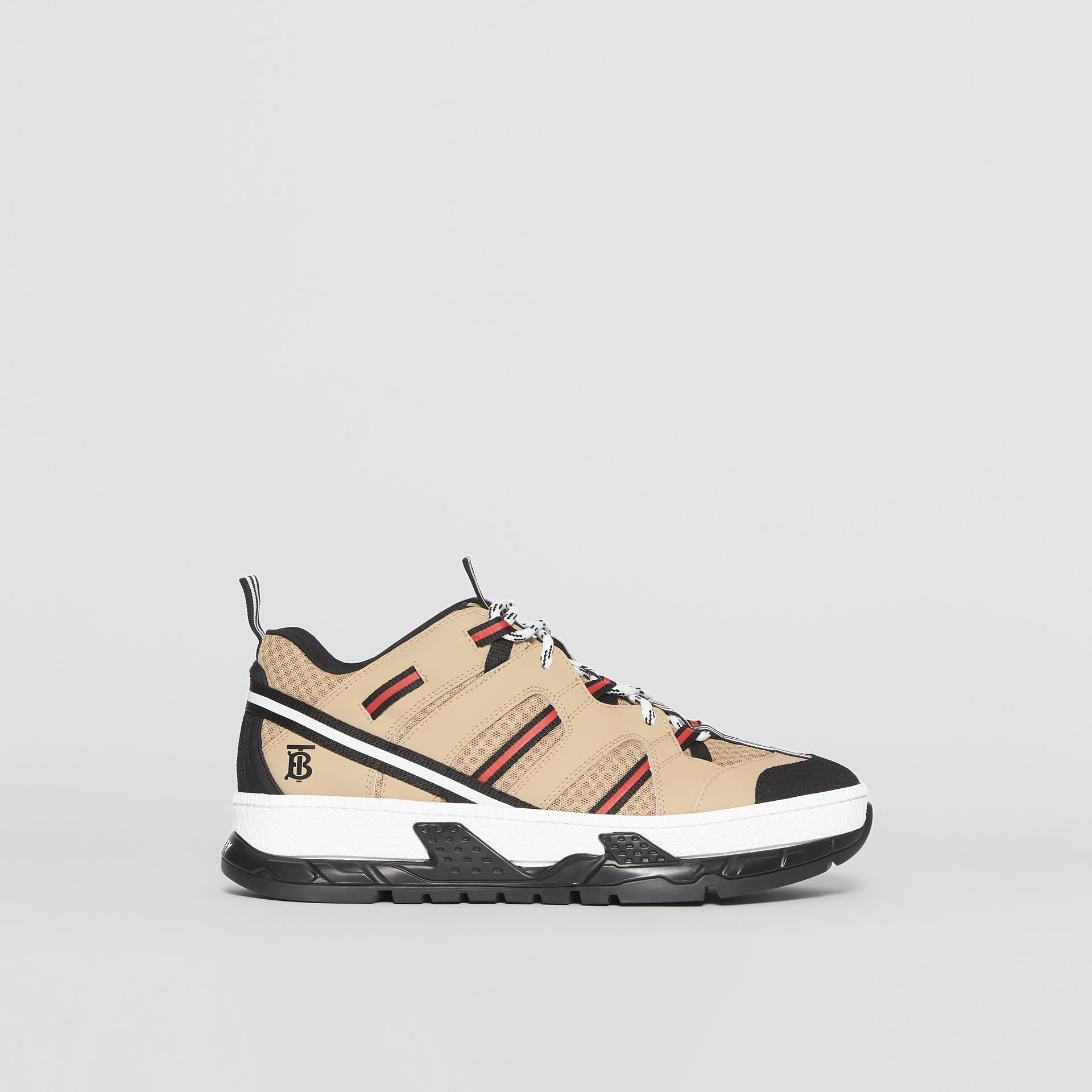 Mesh and Leather Union Sneakers in Beige - Men | Burberry Canada - gallery image 5