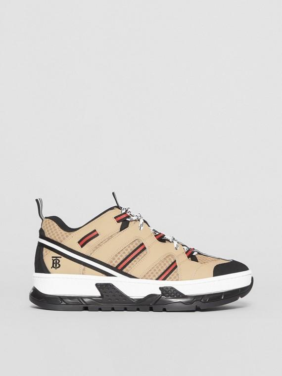 Sneakers Union en filet et cuir (Beige)