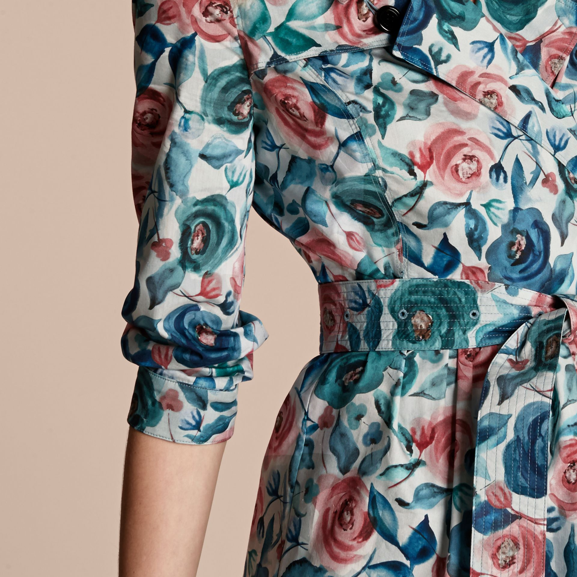Teal blue Watercolour Rose Print Cotton Silk Trench Dress - gallery image 5