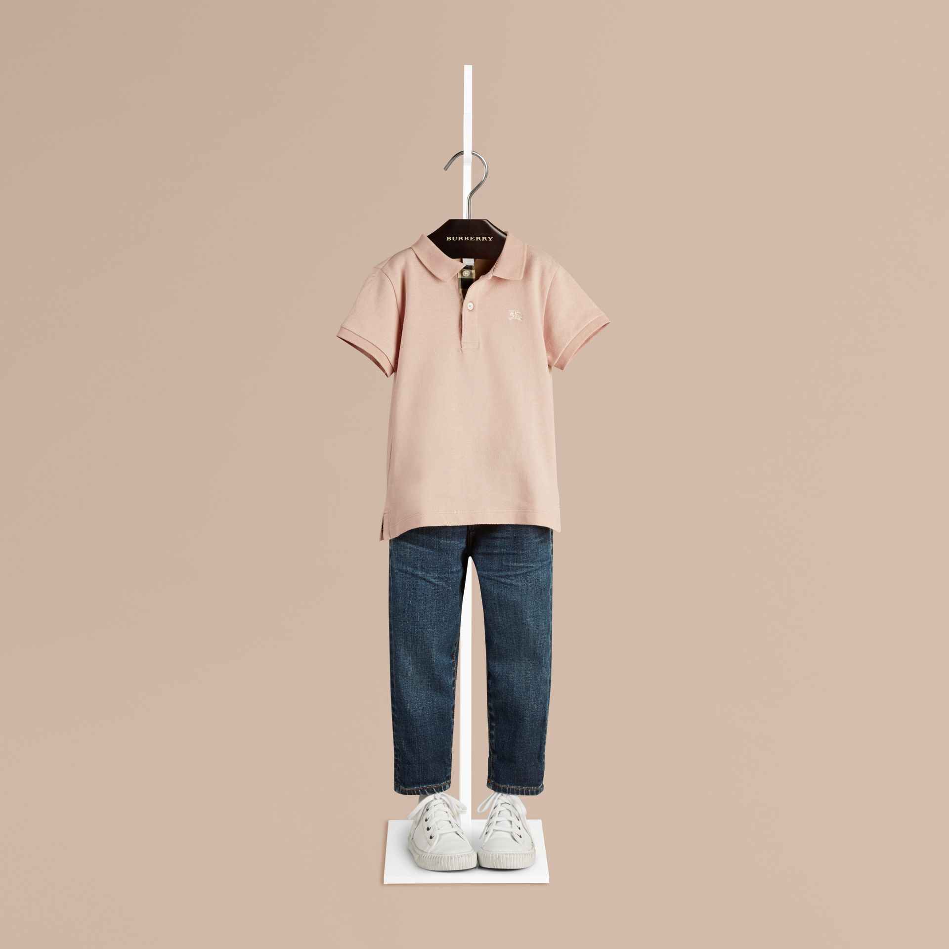 Chalk pink Check Placket Polo Shirt - gallery image 1