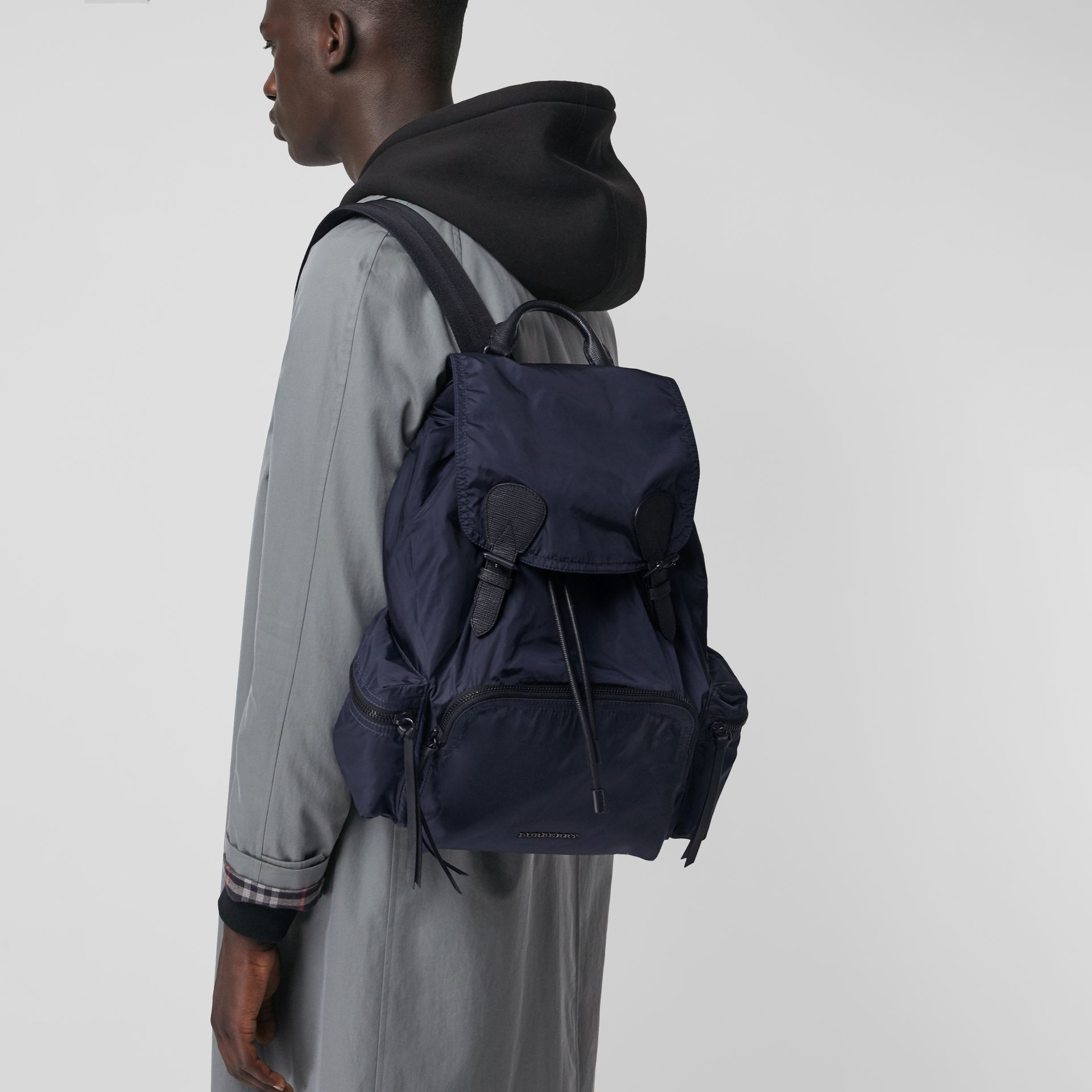 The Large Rucksack in Technical Nylon and Leather in Ink Blue - Men | Burberry United Kingdom - gallery image 3