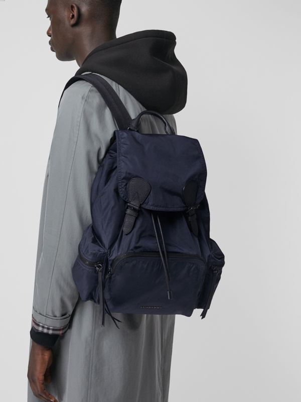 The Large Rucksack in Technical Nylon and Leather in Ink Blue - Men | Burberry - cell image 3