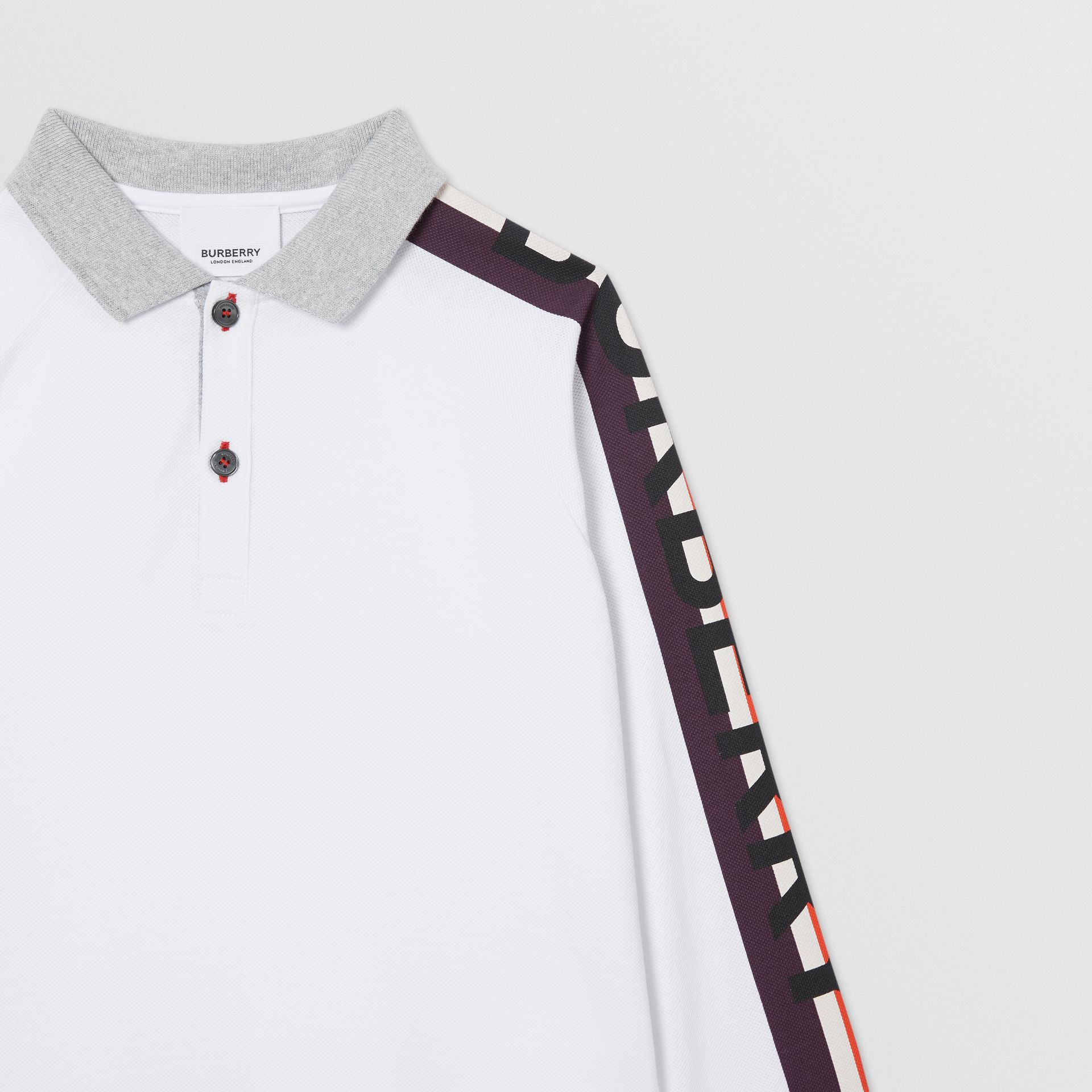Long-sleeve Logo Print Cotton Polo Shirt in White | Burberry Australia - gallery image 4