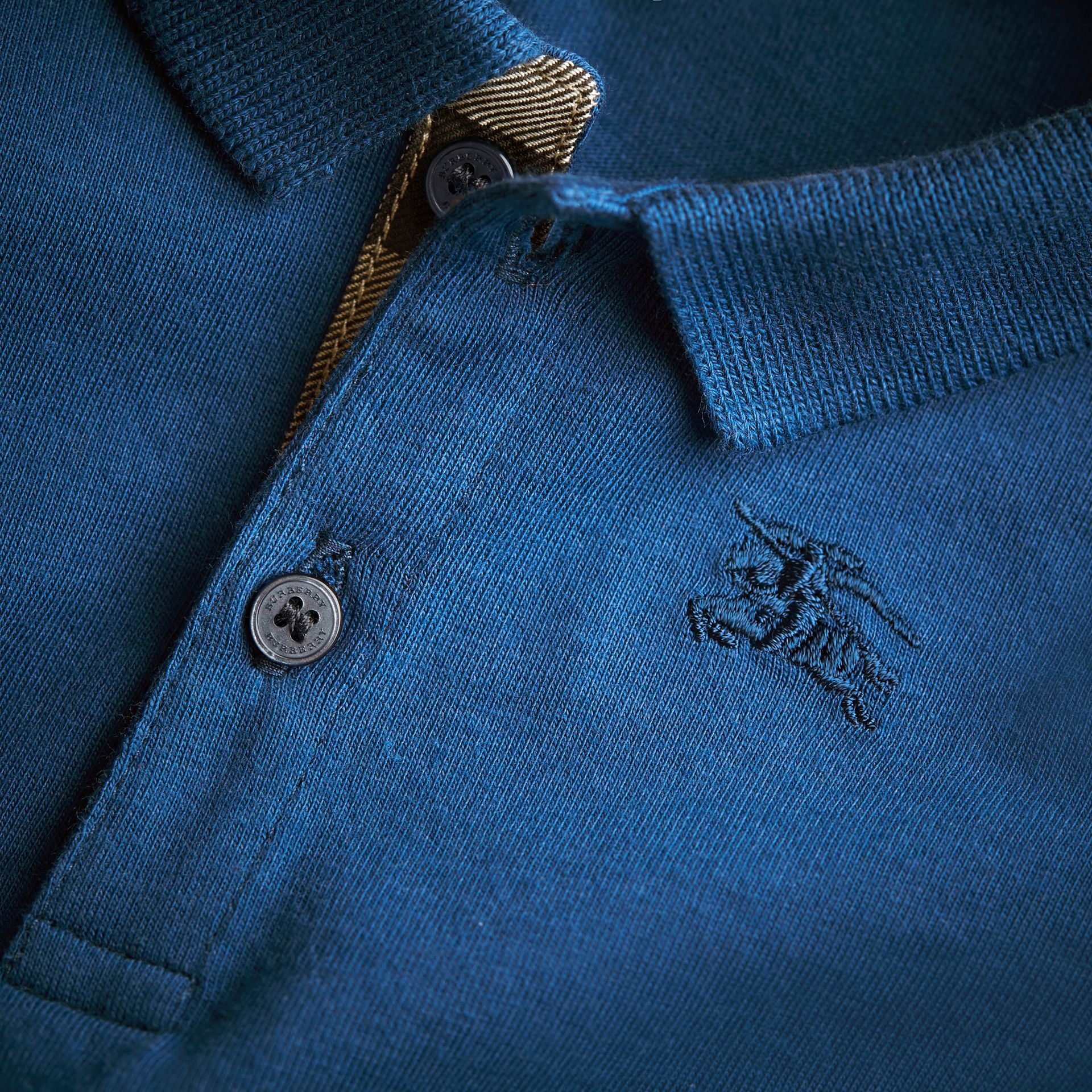 Long-sleeve Cotton Jersey Polo Shirt in Marine Blue | Burberry - gallery image 1