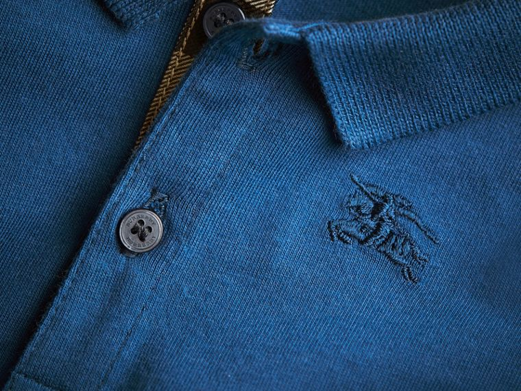 Long-sleeve Cotton Jersey Polo Shirt in Marine Blue | Burberry - cell image 1