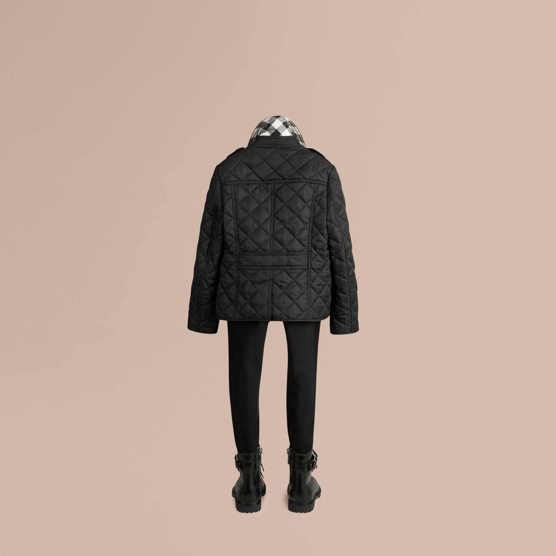 Check Lined Diamond Quilted Jacket in Black - gallery image 3