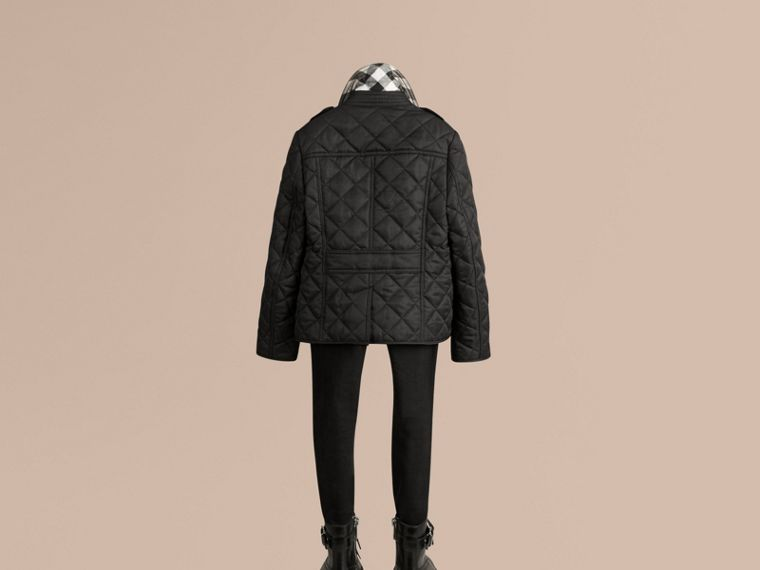 Check Lined Diamond Quilted Jacket Black - cell image 2