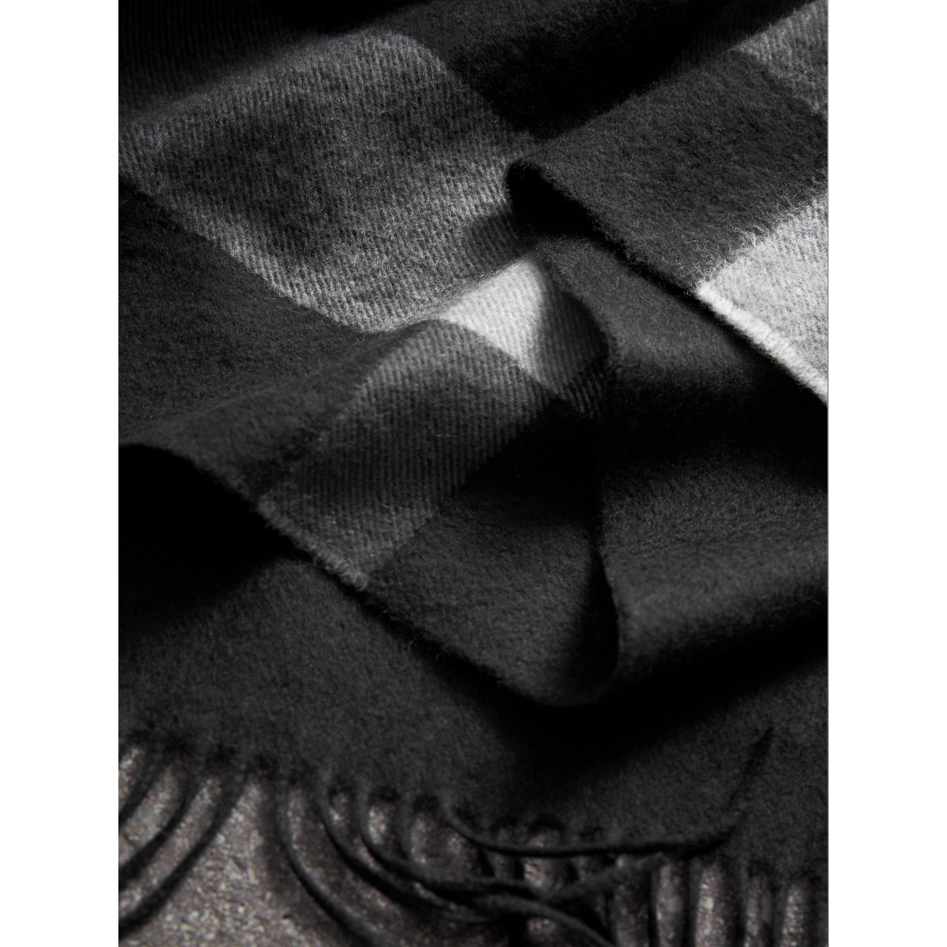 Check Cashmere Wrap in Black | Burberry United Kingdom - gallery image 1