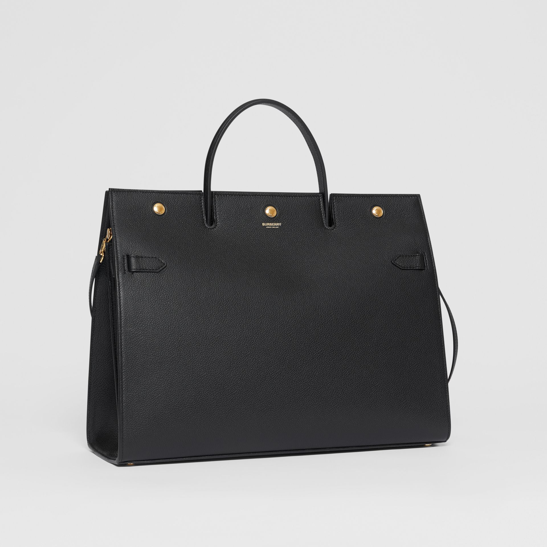 Large Leather Title Bag in Black - Women | Burberry - gallery image 6