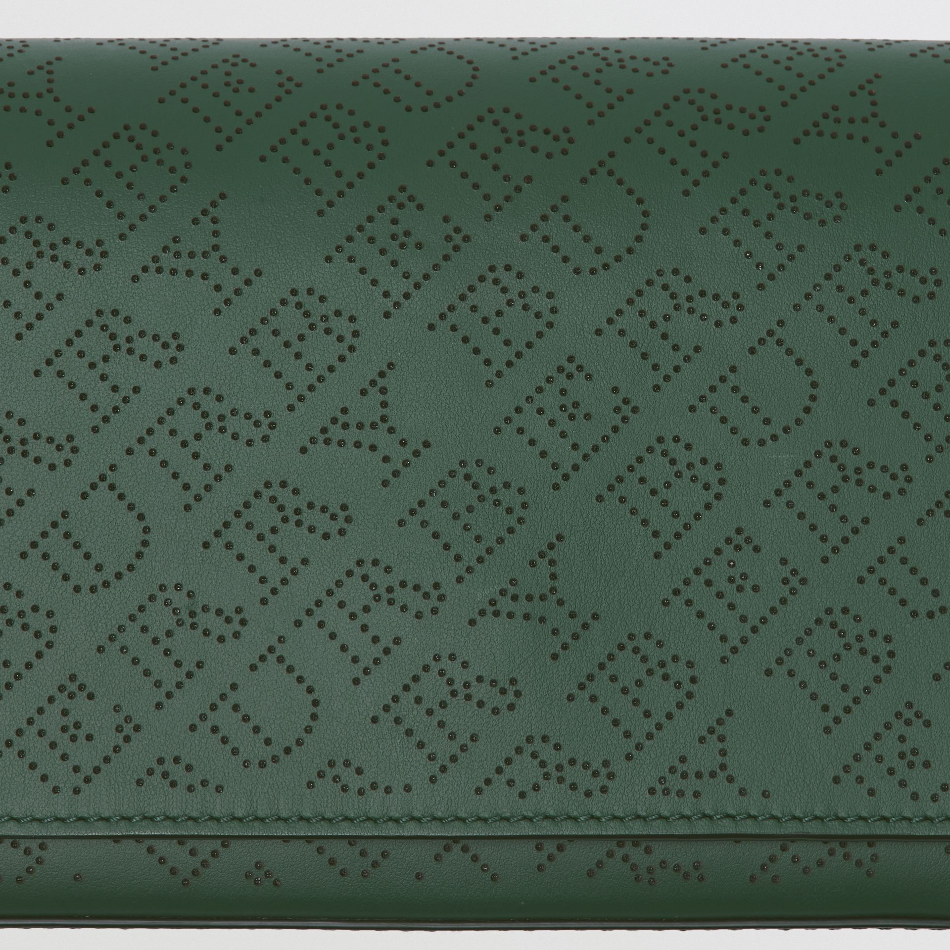 Perforated Logo Leather Wallet with Detachable Strap in Vintage Green - Women | Burberry - gallery image 1