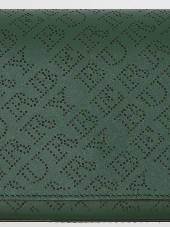 Perforated Logo Leather Wallet with Detachable Strap in Vintage Green - Women | Burberry - cell image 1
