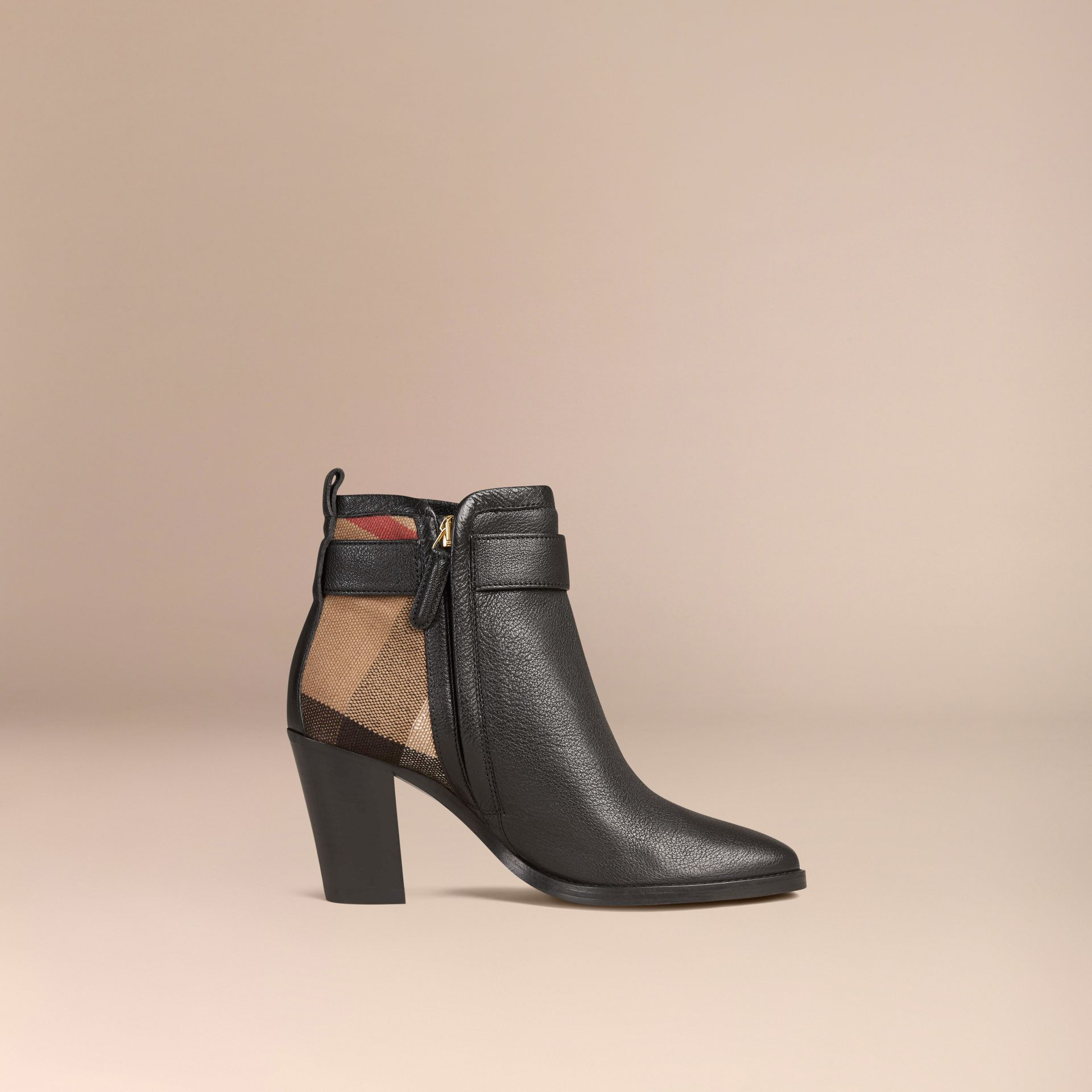 Black Belted Check and Leather Ankle Boots - gallery image 3