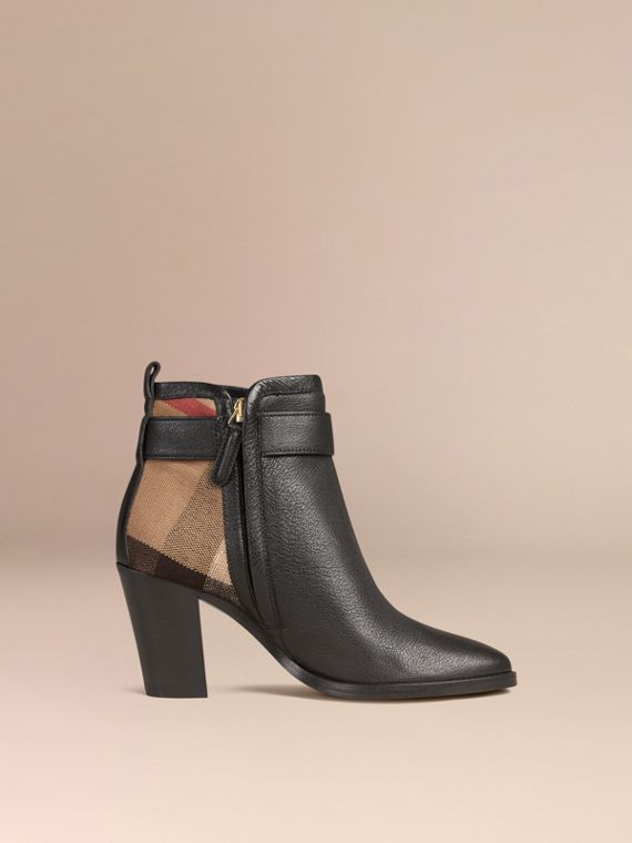 Black Belted Check and Leather Ankle Boots - cell image 2