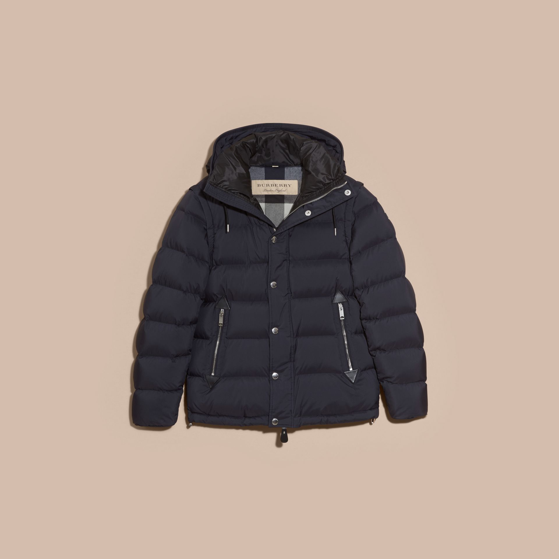 Navy Down-filled Hooded Jacket with Detachable Sleeves Navy - gallery image 4