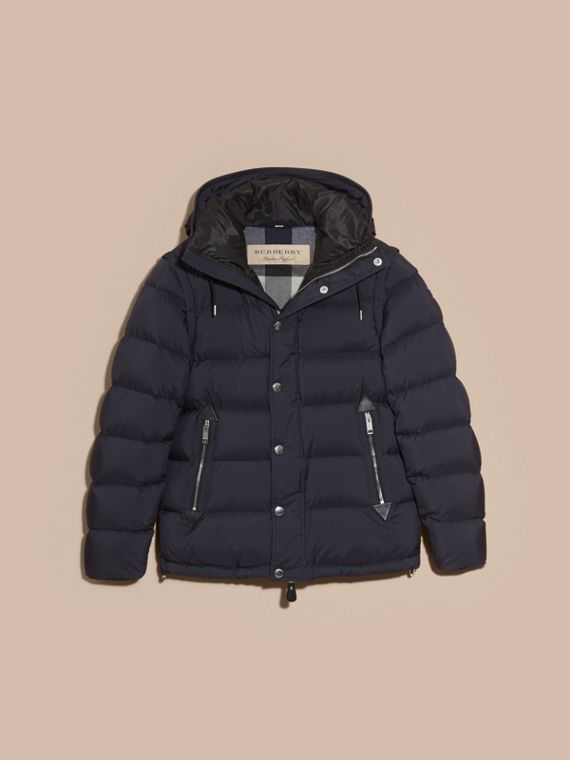 Navy Down-filled Hooded Jacket with Detachable Sleeves Navy - cell image 3