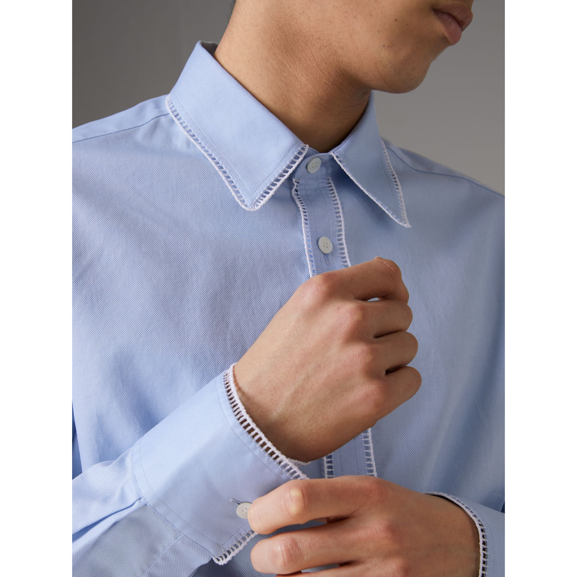 Embroidered Trim Cotton Oxford Shirt in Mid Blue - Men | Burberry - gallery image 4
