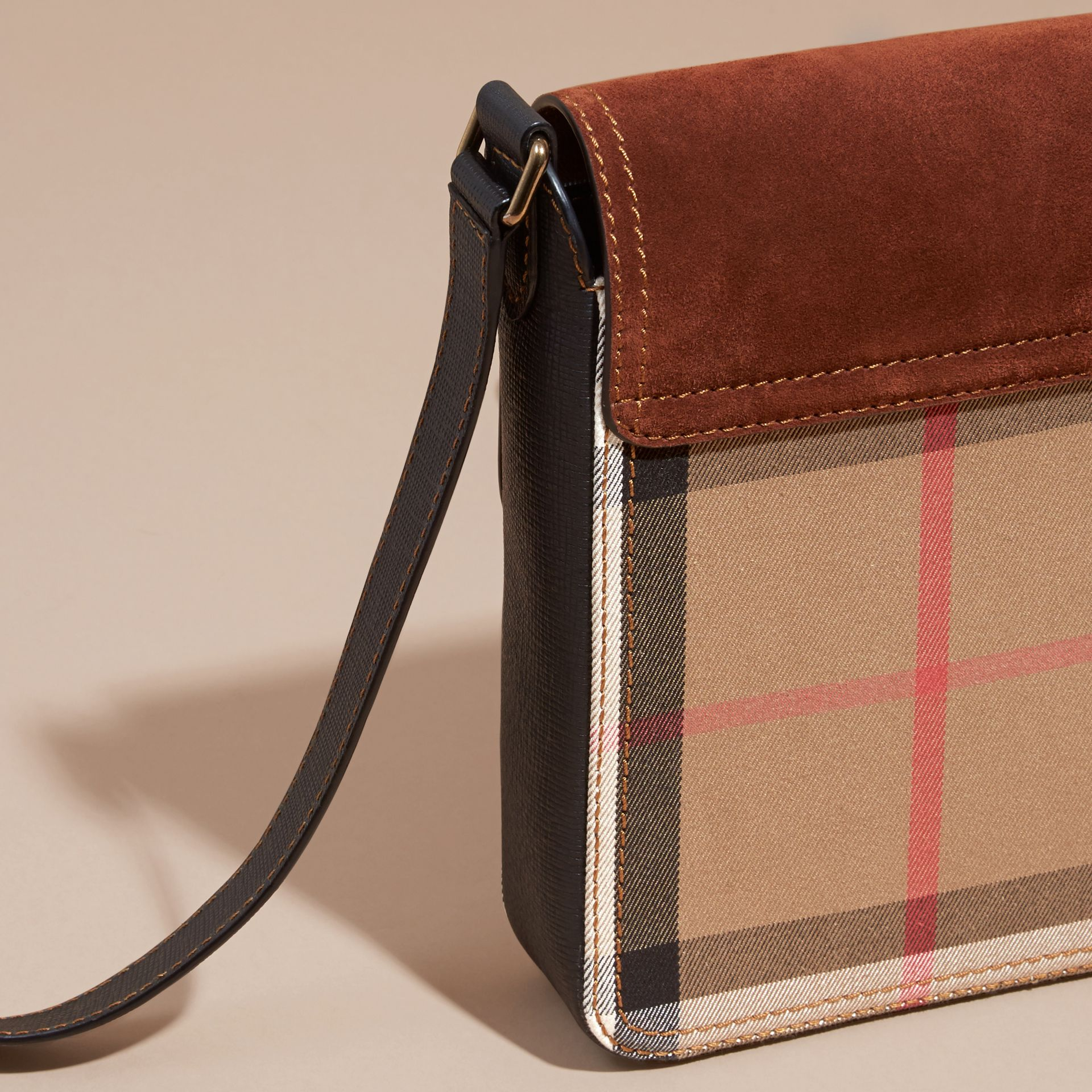Russet brown The Small Satchel in English Suede and House Check Russet Brown - gallery image 4
