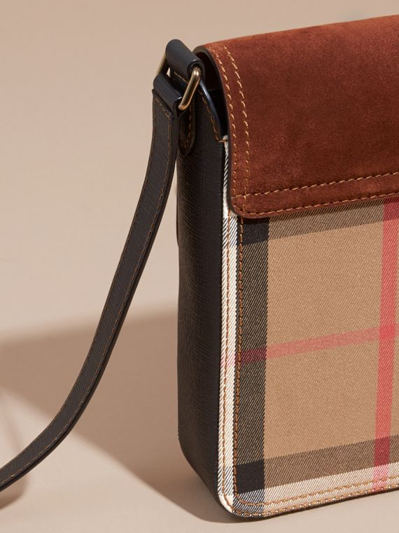 Russet brown The Small Satchel in English Suede and House Check Russet Brown - cell image 3