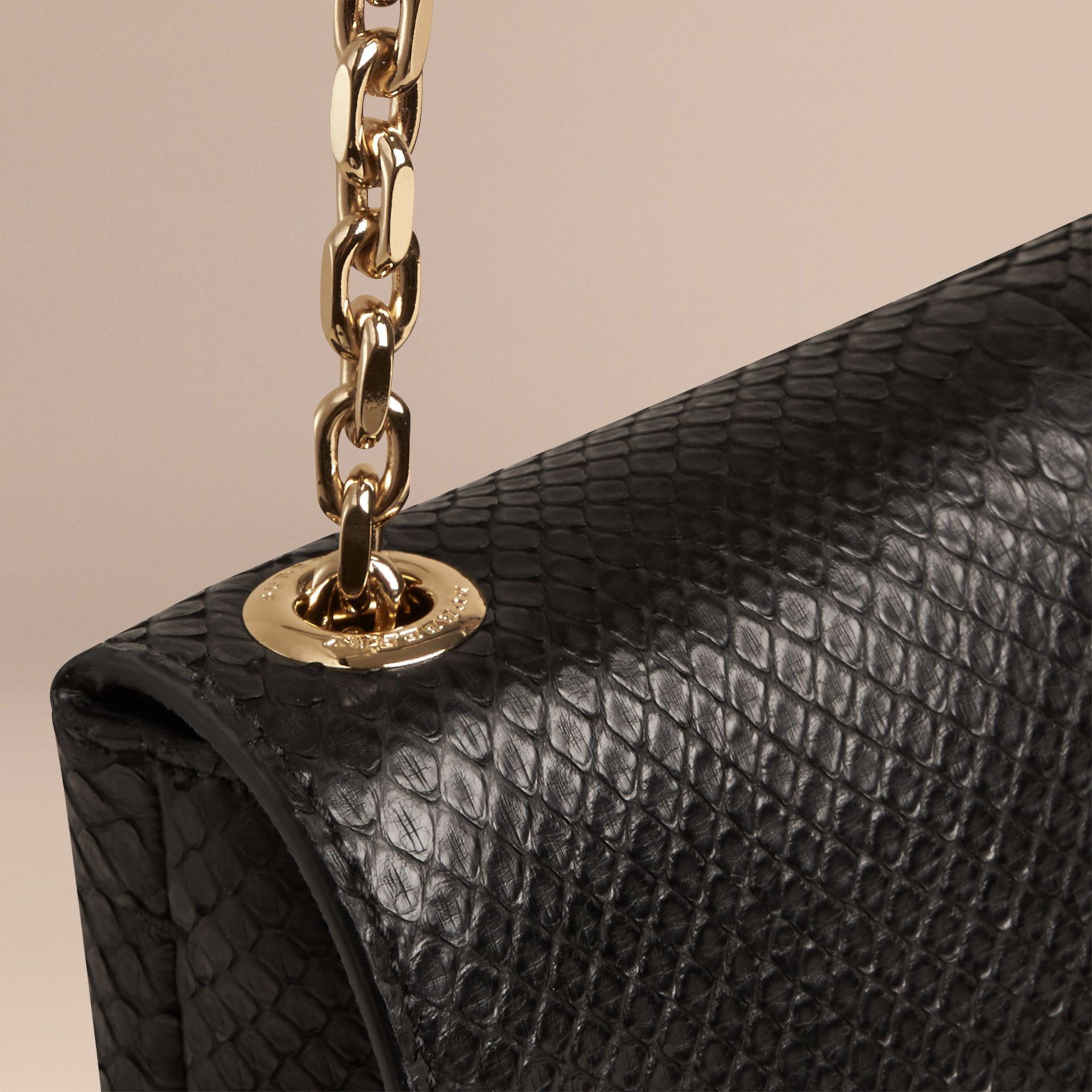 Black Large Python Shoulder Bag - gallery image 5