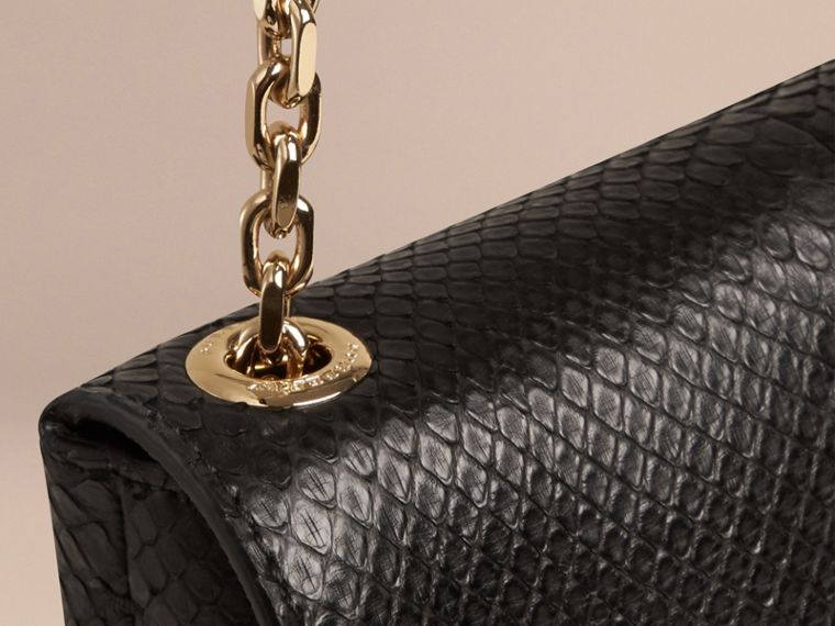 Black Large Python Shoulder Bag - cell image 4