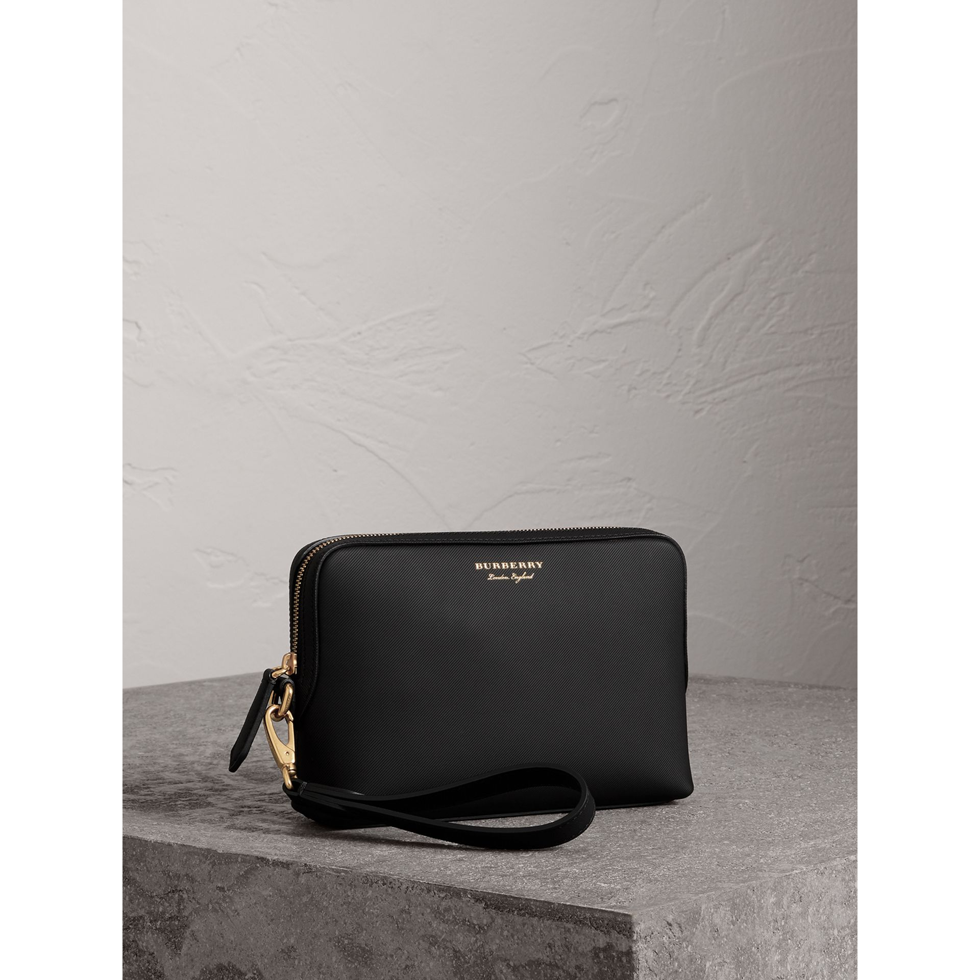 Trench Leather Pouch in Black | Burberry Canada - gallery image 5