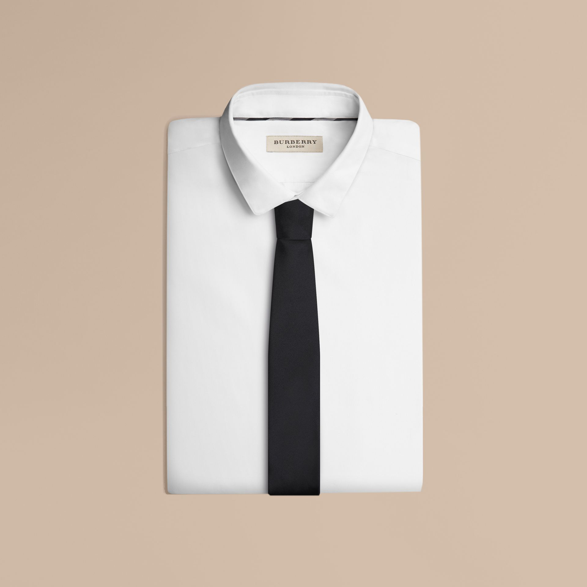 Modern Cut Silk Tie in Black - Men | Burberry - gallery image 3