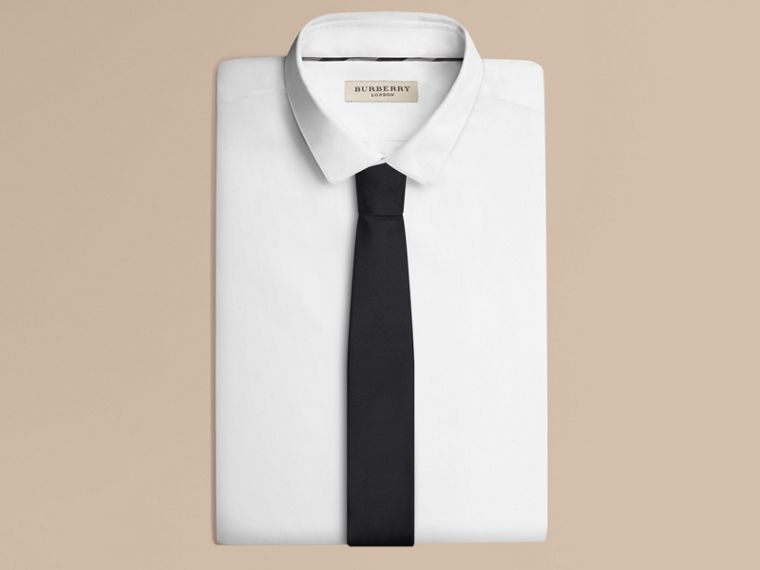 Modern Cut Silk Tie in Black - Men | Burberry - cell image 2