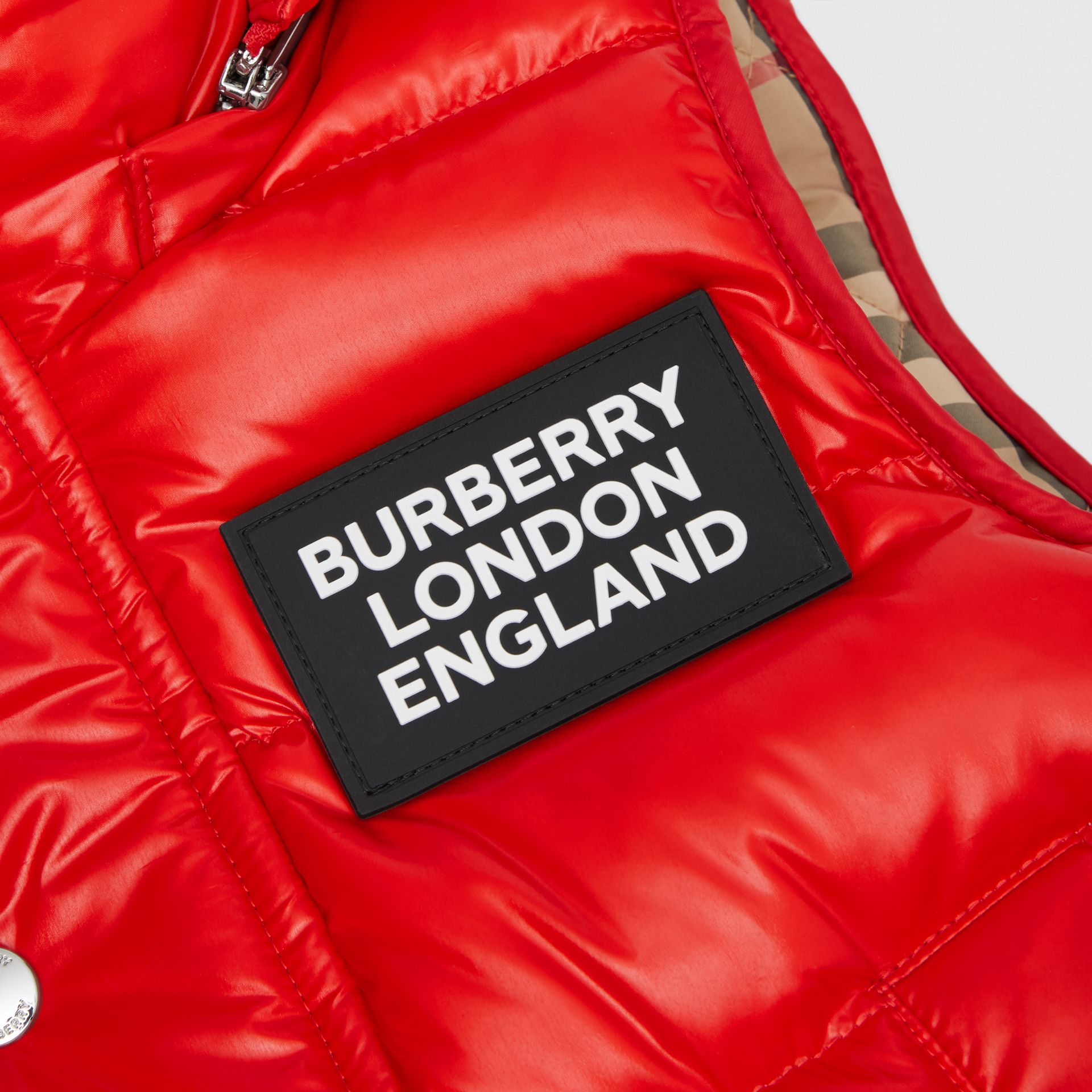 Detachable Hood Nylon Puffer Gilet in Pillar Box Red | Burberry Canada - gallery image 1